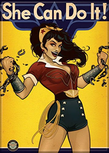 "Ata-Boy DC Comics Bombshells Wonder Woman She Can Do It 2.5"" x 3.5"" Magnet for Refrigerators and Lockers"