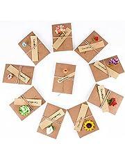 10pcs(10.5x7cm) Tarjeta de Felicitación Papel Kraft Sobres Pequeños Navidad Fiesta Boda con Flores Secas Postal para Regalo Cumpleaños