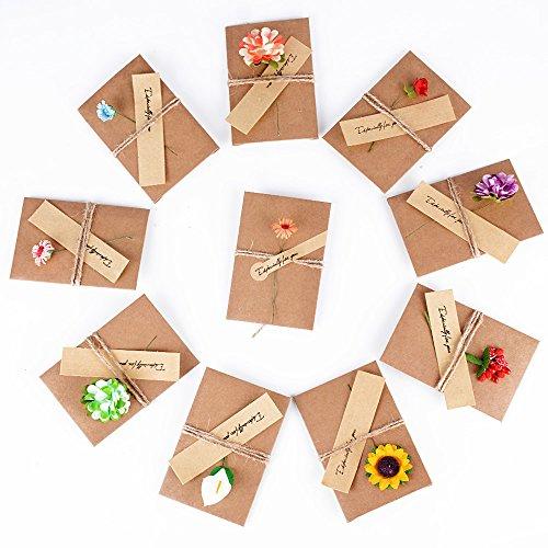 (10.5CM x 7CM) 10 Stück Grußkarte Dankskarten Einladungskarte Geschenk Umschlag Retro Kraftpapier Karte und Umschlag Blanko mit Getrocknete Blumen