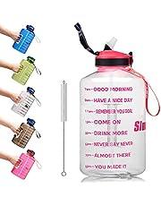 SLUXKE 3,78 L/2,2 L vattenflaska motiverande sportvattenflaska med tidmarkör, BPA-fri, läcktät, återanvändbar stor fitness vattenkanna för gym, träning, vandring, resor, kontor, skola