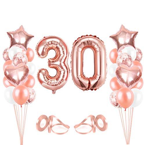30er Cumpleaños Globos, Decoración de cumpleaños 30 en Oro Rosa, Feliz cumpleaños Decoración Globos 30 Años, Globos de Confeti y Globos de Aluminio para niñas y Mujeres
