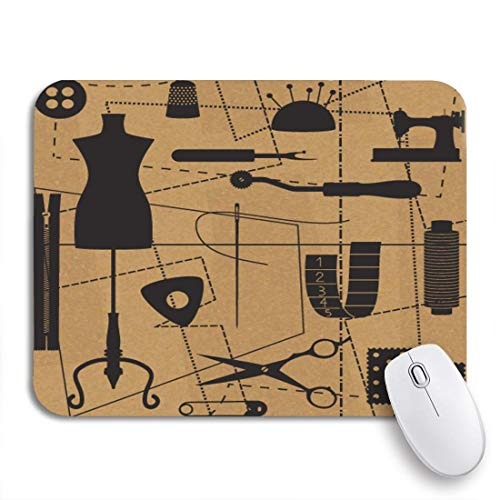 Gaming Mouse Pad Craft Nähen Verwandte Symbole Schneider Schaufensterpuppe Material Vintage Handarbeiten rutschfeste Gummi Backing Computer Mousepad für Notebooks Maus Matten