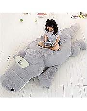 HYAKURIぬいぐるみ 特大 ワニ 可愛い熊 動物 大きい/巨大 ワニ/クマ抱き枕/お祝い/ふわふわぬいぐるみ (グレー, 140cm)
