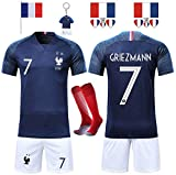Rongli Maillots de Football T-Shirt 2 Étoiles Vêtements de Football avec Chaussettes et Accessoires Chemise de Football pour Hommes Enfants