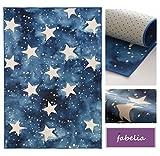 Fabelia Alfombra infantil con estrellas (80 cm x 150 cm), diseño de cielo estrellado y nubes