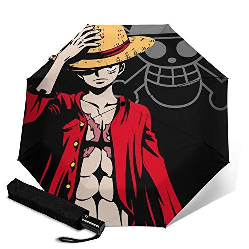 Monkey D Luffy paraguas de una pieza triple plegable abre y cierra automáticamente Waterpro de viaje sombrilla protección UV y plegable al aire libre conveniente capa de transporte