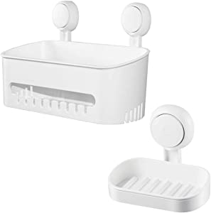 SunHorde Bathroom Shower Caddy & Soap Holder, Deep Basket Shelf with Suction Cup, Large Capacity, Powerful Kitchen Wall Storage Organizer, for Sanitizer, Shampoo, Gel, Conditioner & Hand Soap
