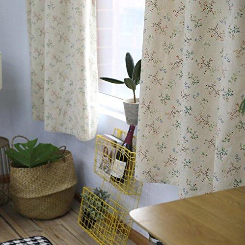 Rideaux et rideaux Court rideau Rideaux occultants Petites fleurs Impression pour Traitements de fenêtre Rideaux finis Haut à oeillets Un panneau 140 * 215 cm