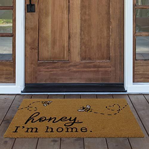 Elrene Home Fashions Farmhouse Living Honey I'm Home Bee Coir Doormat, 18