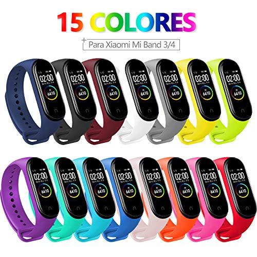 15 PCS Correa Compatible con Pulseras Xiaomi Mi Band 3 / 4, Bangting Correas para Fundas Mi Fit Band 4 My Band 3 Inteligente Funda Miband3 Pulsera Reloj Silicona Banda Reemplazo