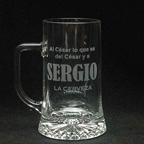 Jarra Cerveza personalizada y grabada con Dibujo, Nombre, Logo, Escudo. como desee (Asa a la Izquierda)