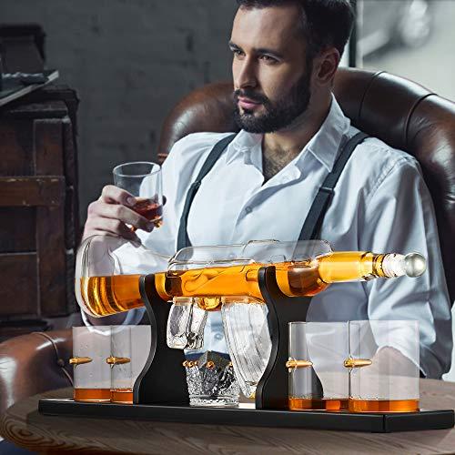 TTLIFE Juego de decantador de Pistola de Whisky, 800ML Jarra Whisky Contiene 9 Piedras de Whisky, vertidores, 4 Vasos de Whisky y 1 Soporte para Jarra Es una Buena opción para Regalos de Hombr