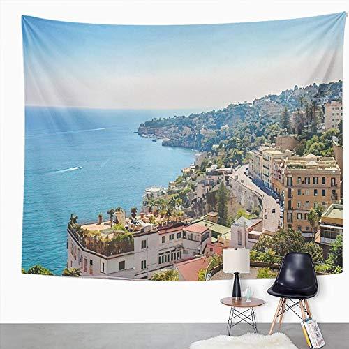 Y·JIANG Tapiz de paisaje urbano de Italia, vista de la costa, Nápoles, Italia, panorámica, arquitectura, decoración para el hogar, dormitorio, 152,4 x 127 cm