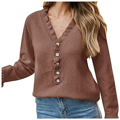 Suéter de talla grande para mujer, blusa de manga larga con cuello redondo y sudaderas de punto para otoño, marrón (01-brown), M