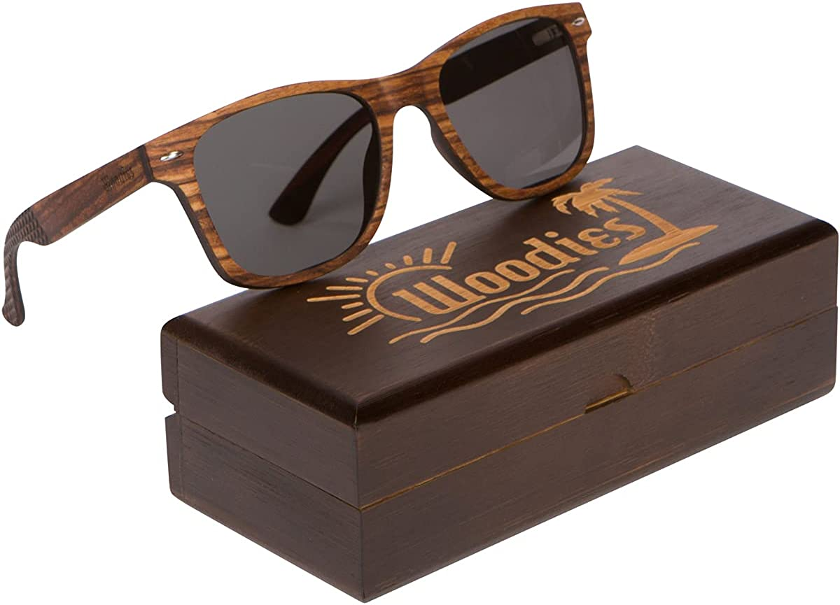 Woodies Wood Sunglasses with Polarized Lens and Bamboo Gift Box Special Edition Engraved