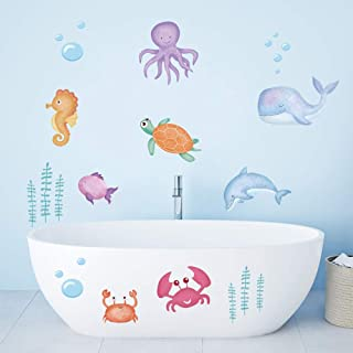 ufengke Under The Sea Kids Wall Stickers Marine Fish Seaweed Wall Decals Art Decor for Nursery Children Bedroom