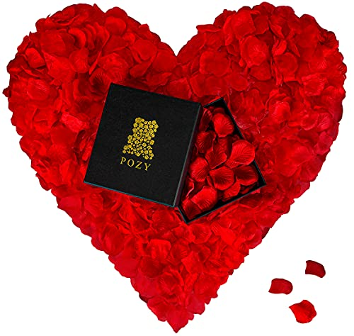 POZY® Rosenblätter mit edler Aufbewahrungsbox [4.000 Stück] romantische Dekoration zur Hochzeit & Schlafzimmer - wunderschöne Rosenblüten als Jahrestag Geschenk für ihn - Fantastische Geburtstagsdeko
