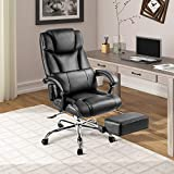 Gaming Chair - High Back PU Leather PC Racing Computer Desk Office Swivel Chair with Retractable Footrest and Double Padded