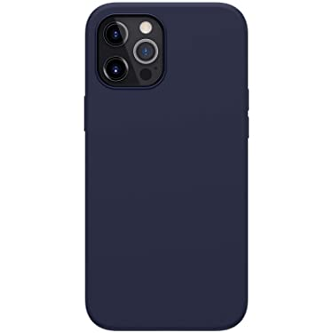 """Nillkin Case for Apple iPhone 12 Pro Max (6.7"""" Inch) Flex Pure Pro Magsafe Cover Case Liquid Silicon Magnetic Function Anti Finger Print with Inner Microfibre Blue Color"""