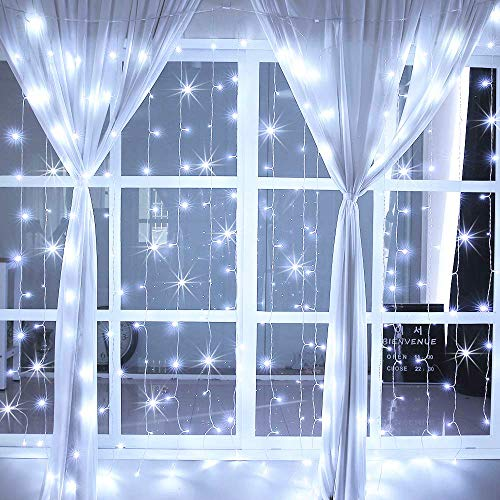 Ollny Curtain Lights Fairy String Twinkle Lights 200 LED 6.6 Ft with 8 Lighting Modes Remote, Dimmable Cool White Lights for Bedroom Christmas Wedding Party Home Garden Outdoor Indoor Wall Decorations