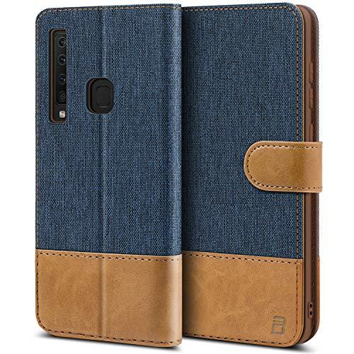 BEZ Handyhülle für Samsung Galaxy A9 2018 Hülle, Tasche Kompatibel für Samsung Galaxy A9 2018, Handytasche Schutzhülle [Stoff & PU Leder] mit Kreditkartenhalter, Blaue Marine