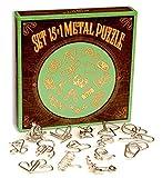 LOGICA GIOCHI Art. Set De Metal 15 en 1 Verde - Rompecabezas De Metal - Juegos De Ingenio - Set De Puzzles Inteligentes - Todos Los Niveles De Dificultad