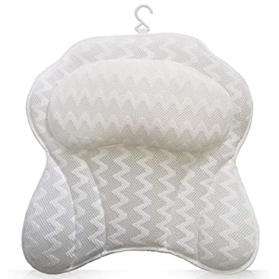 Bathtub Pillow, Ergonomic Bath Pillows for Tub Neck and Back Support Luxury Bath Tub Pillow Rest 3D Air Mesh Breathable Bath Accessories for Women & Men Fits All Bathtub, Hot Tub, Jacuzzi and Home Spa