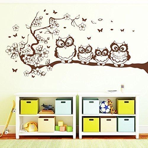 """Wandtattoo-Loft """"Vier Eulen auf einem Frühlingsast"""" - Wandtattoo / 49 Farben / 4 Größen/braun / 35 x 73 cm"""