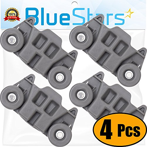 [UPGRADED] Ultra Durable W10195416 Lower Dishwasher Wheel with STEEL Screws Replacement Part by Blue Stars - Exact Fit for Whirlpool Kenmore Dishwasher- PACK OF 4
