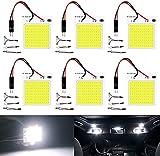 DEFVNSY - Lot de 6 blanc 300Lums extrêmement lumineux COB 48-SMD 12V DC LED lumière Pour intérieur de voiture, plaque de lecture, toit, plafonnier intérieur filaire avec T10, BA9S, adaptateur feston