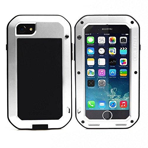 Meiya - Carcasa para iPhone 7 de 4,7 Pulgadas (Aluminio, Metal, Cristal Gorila, Extremadamente Resistente a los Golpes, protección Completa, Resistente y Duradera), Color Blanco