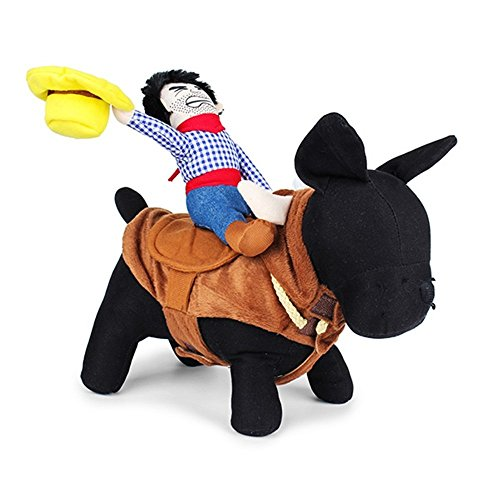 LUCKSTAR Funny Pet Costume - Novelty Pet Supplies Cowboy Rider Horse Riding Designed with Money Purse Outfit Apparel Dress Up Decoration Prop Toy for Cat Dog Puppy (M)