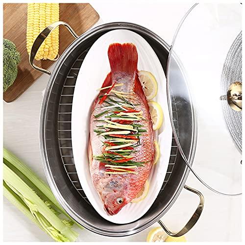 Vaporera De Pescado De Acero Inoxidable - Olla De Cocina Ovalada Multiusos para Alimentos Vaporera De Utensilios De Cocina con Tapa De Vidrio Ventilada Y Placa De Cerámica