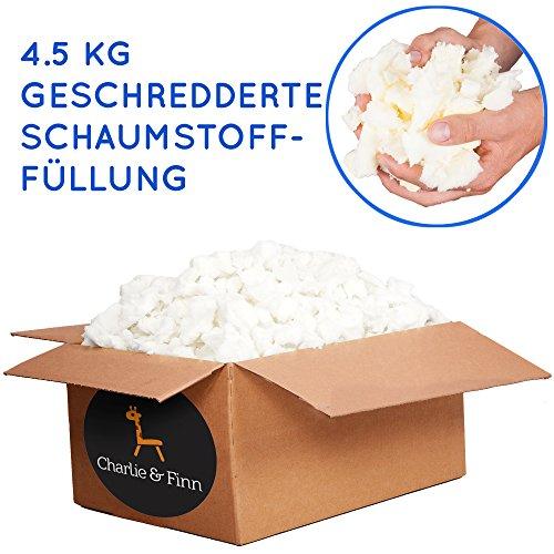 Charlie & Finn 4.5 kg Schaumstoffflocken Füllmaterial - Ideal zum Füllen von Sitzsäcken, Kissen, Hunde & Katzen Betten und Plüschtiere - Schaumstoff Flocken für Bean Bags Kissenfüllung & Teddyfüllung