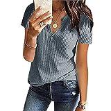 Womens Tops Short Sleeve V Neck Button Up Loose Waffle Knit Tunic Henley Shirts a Lined Dress for Women t Shirt Dress Dress up Clothes for Kids White Dress Pants for Women Lemon Dress
