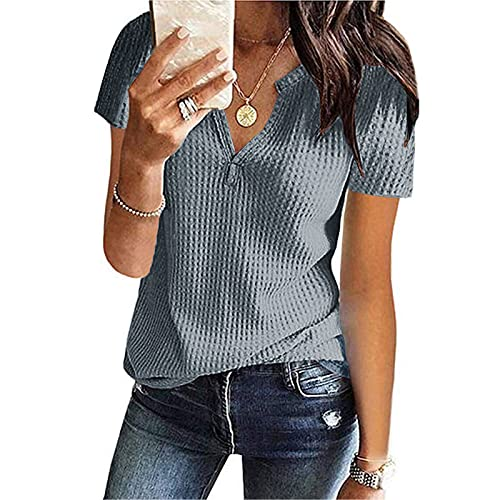 Womens V Neck Waffle Knit Button Henley Tee Shirts Short Bat Sleeve Tops Rolled Sleeve Casual Loose Soild Flowy Fitted Dress for Women Cocktail Dresses for Wedding Guest Dress Slips