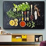 Verduras Frutas Granos Especias Lienzo de cocina A Pintura Carteles e impresiones Arte de la pared Imagen Sala de estar Sin marco