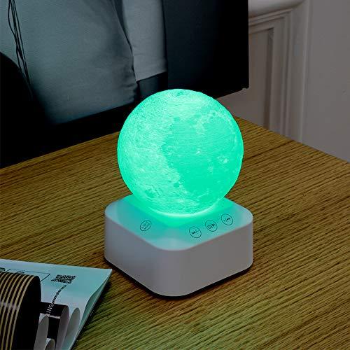Houkiper Sleep White Noise Machine, draagbare geluidstherapie met 6 natuurlijke geluiden, 3 timers, 7 lichtkleuren, dimbaar