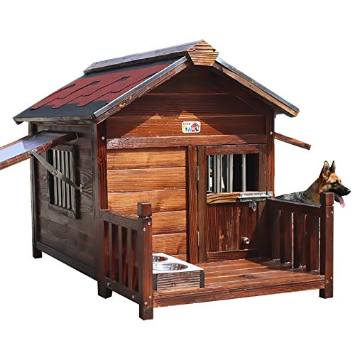 Zhyaj Rattan Garten Möbel, Hundebett Natürliches Holz Belüftung Balkon Hundevilla Regenfest Dauerhaft Verrottet Nicht Stabil Extra Große Hundehütte Outdoor,I