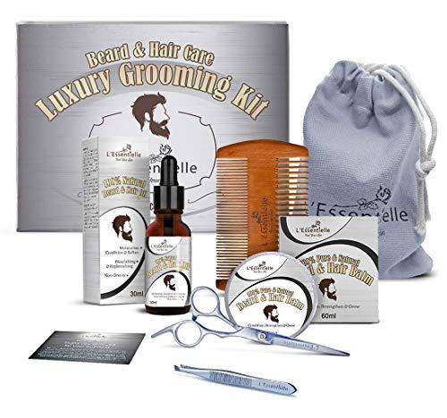 Beard Care Kit for Men - Luxury Mens Grooming Kit - Beard Oil & Beard Balm - Wood Beard Comb - Beard & Moustache Scissor & Tweezer - Beard & Hair Grooming Gift & Present for Him Husband - Dad - Friend