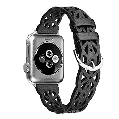 Secbolt Hollowed-Out Leather Band Compatible with Apple i Watch Bands 38mm 40mm iWatch Series 5/4/3/2/1, Elegant Top-Grain Leather Wristband Strap Accessories for Women