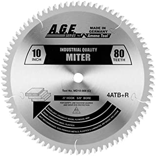 Amana Tool A.G.E. Series MD10-806 Heavy Duty Miter/Double Miter 10-Inch x 80 Tooth 4 ATB+R 5/8 Bore Saw Blade