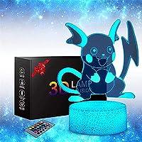 XKUN ポケモンライチュウ3Dイリュージョンランプナイトライト目の錯覚ランプ16色調光可能なusbパワードタッチコントロール、クラックベース+リモコン付きボーイズガールズキッズギフト