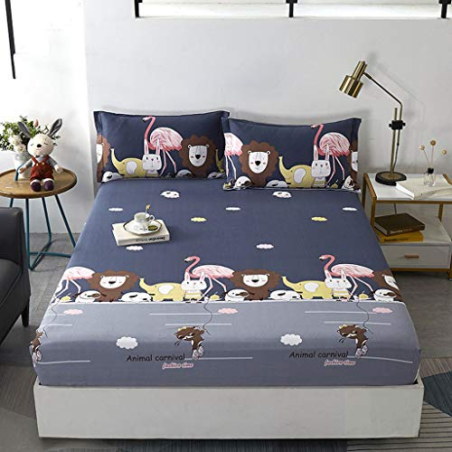 Children's Fitted Bed KING SIZE Sheet, 180 x 200 cm, 100% Quality Pure Cotton Bed Kids Fitted Sheets Set, lattice Rio -Bear-Beige Deer/Town-Cartoon animal-Pink Rabbit-