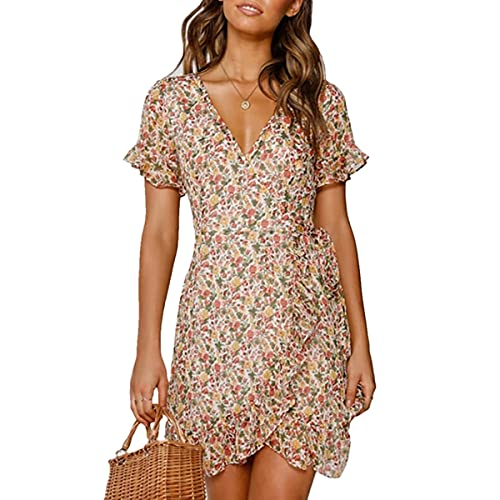 Mosestons Mujer Vestido de Gasa Bohemio Corto Florales Nacional Verano Sexy Vestido Casual Magas Cortas Fiesta Playa Vacaciones Vestido S-XXL