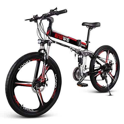 Lixada Plegable de 26 Pulgadas Bicicleta Eléctrica Asistente de Potencia Bicicleta de Ciclomotor de Suspensión Completa con Computadora de Ciclismo...