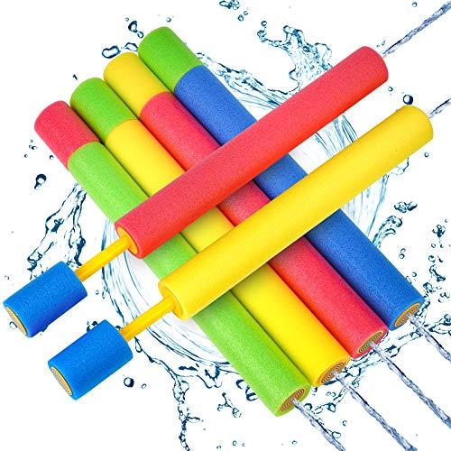 Kiztoys Wasserpistole Spielzeug Kinder Set 6 Stück Pool Wasserspritzpistolen mit Reichweite 35 Feet Sommer Wassersport, Garten und Strand Wasserpistolen für Kinder Rasen Wasserrutschen