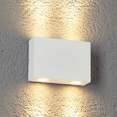 Lucande LED Wandleuchte außen 'Henor' (spritzwassergeschützt) (Modern) in Weiß aus Aluminium (4 flammig, A+, inkl. Leuchtmittel) - LED-Außenwandleuchten Wandlampe, Led Außenlampe, Outdoor Wandlampe