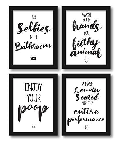 WIETRE Premium 4er-Set lustige Bad WC Sprüche | Badezimmer Toilette Zitate - Deko Bild | Kunstdruck A4 Poster witzig - ohne Rahmen