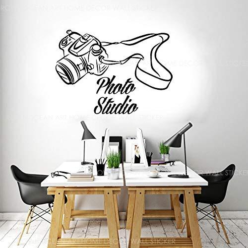 AQjept Fotografía Photo Studio Logo Logo Etiqueta de la Pared Vinilo Interior Sala de Negocios Decoración de Oficina Cámara Decal58x42cm